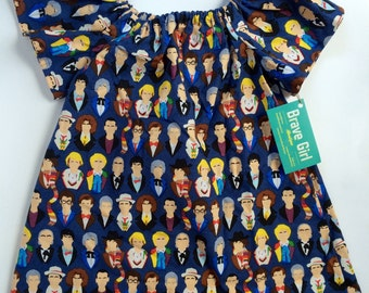 Doctor Who Inspired, Twelve Doctors, Who Faces, Girls Dress, Peasant Top, Tunic