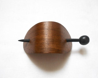Hair Barrette, Brown Wooden Hair Barrette with Stick, Wooden Hair Stick Clip, Everyday Jewelry, Wooden Hair Jewelry