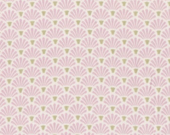 "Fabric ""The Rosen Age"" in Pink Art Deco Scales Print - By the Yard"