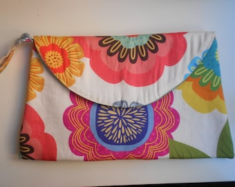 Wedding clutch/Flower clutch/Handmade/Cotton wristlet/Bridesmaid Clutches