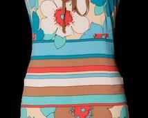 Emilio Pucci Style | 1960 dress | Pencil dress | Vintage dress | floral dress | blue dress | tan dress | Maxi dress | Strap dress | daisy