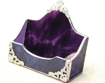 Deep Purple Business Card Holder, Real Stained Glass, Decorative Hand Beading, Awesome Filigree, Beautiful and Functional Gift for Her