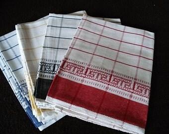 Vintage French, Set Of Four, Linen Tea Towels, Torchons, Kitchen Towels,