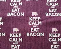 Keep calm and eat Bacon pet bandana / Over collar bandana