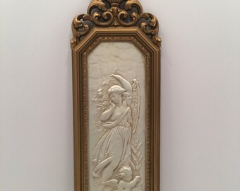 Gold and Cream Wall Plaque~ Angel and Child ~ Lady and Child ~ Dart Ind. Made in USA ~ Shabby Chic ~ Gallery Wall ~ Vintage