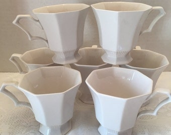 Independence Ironstone ~ Interpace Japan~ Set of 7 Cups ~ Teacup or Coffee Cup ~ Off White ~ Vintage