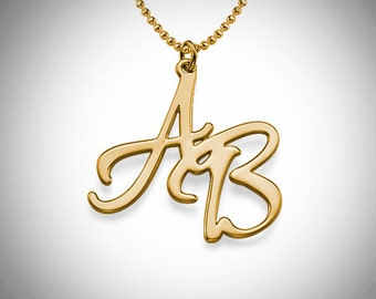 Two Initials Necklace / Personalized Initial Necklace / Free shipping Custom Necklace