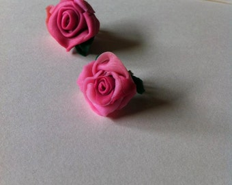 Quality gorgeous handmade pink rose earring studs!