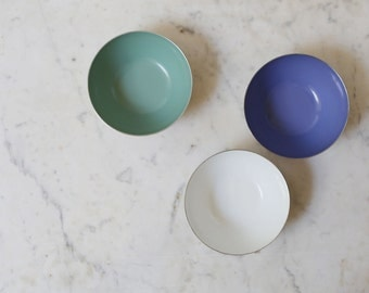"""1 Cathrineholm enamel bowl // steel outside //periwinkle 4"""" bowl or seafoam 4"""" bowl white bowl sold out"""