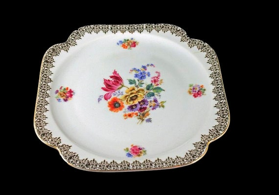 Square Salad Plate, Epiag Royal, Czechoslovakia, Floral Pattern, 22K Gold Trim, Display Plate