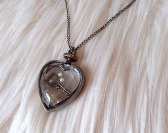 Key to My Heart, Heart Necklace, Crystal Heart, Key Necklace, Bronze Necklace