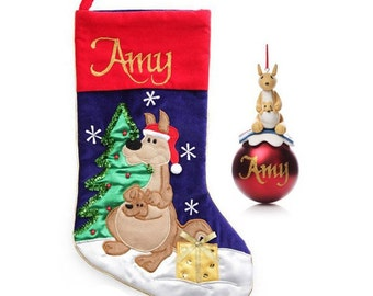 Personalised Australiana Kangaroo Stocking and Bauble Pack