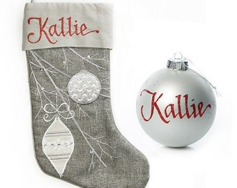 Personalised Silver Bauble Stocking and Bauble Pack
