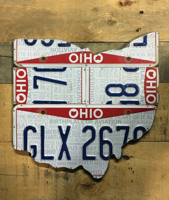 License Plate sign Wall Art - Ohio Wall Decor Unique Gift - Rustic Apple Art as seen in Country Living Magazine, Free  Shipping in USA