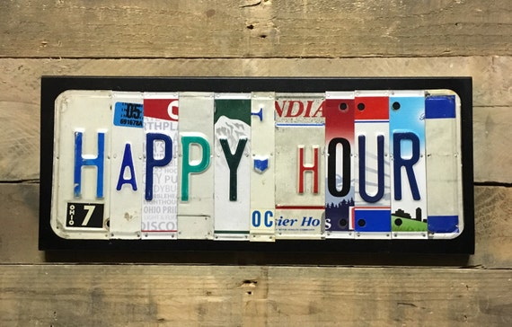 Happy Hour License Plate Sign - License Plate Wall Art - Wall Decor - Bar Sign - FREE shipping in US!
