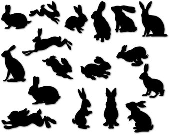 Rabbits Silhouettes / Bunny Silhouette / Bunnies svg / Bunny Silhouette / Easter Bunny Clipart /svg, dxf, eps, ai, png / Rabbits svg / Bunny
