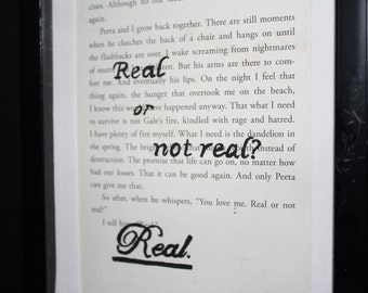 "Upcycled Hunger Games Mockingjay Hand-Painted Book Page Art ""Real or Not Real?"" Quote"