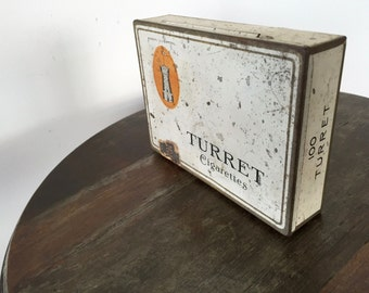 Vintage TURRET CIGARETTE TIN, Collectible Cigarette Tin Imperial Tobacco 100 Cigarette Flat Pack, Advertising Tobacco