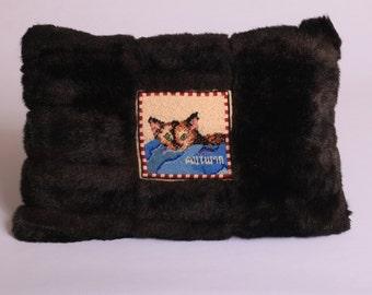 custom-designed needlepoint cat pillow