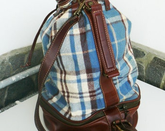 """Vintage """"More & More"""" 80's Leather and cloth Backpack, Bucket Bag, Leather Bag, Brown Leather, Suede cloth and leather Rucksack, Luggage"""