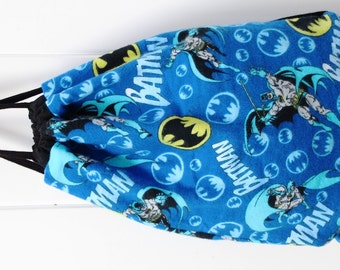 Child's Drawstring Backpack Batman, Fully Lined Drawstring Backpack, Superhero, Batman Backpack