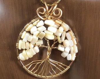 June Tree of Life Pendant, Custom Birthstone Tree of Life Pendant, Mother of Pearl Pendant,  June Birthstone Pendant, Birthstone Necklace
