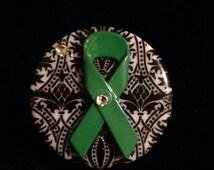 Green Awareness Ribbon nurse Badge Reels,Designer Badge Holders,Unique Id badge reel, nurse jewelry, cancer id life alert
