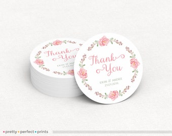 Wedding Thank You Sticker / Round or Circle Label - 2in or 3in - Floral Wreath