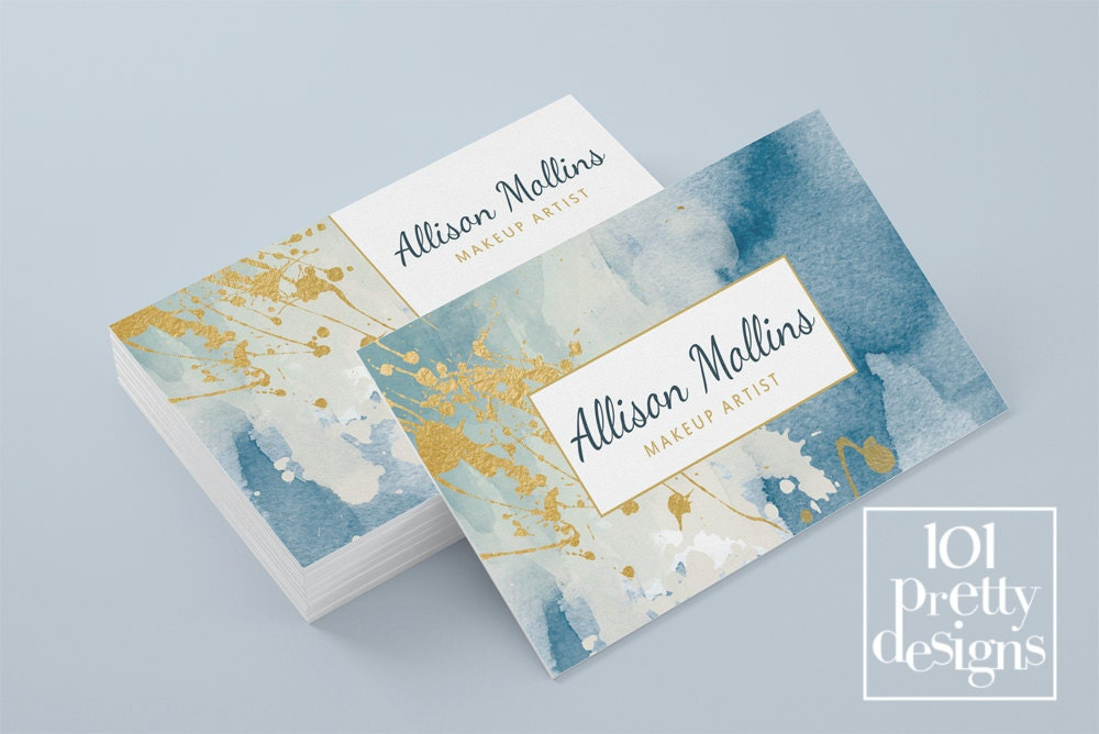 Watercolor business card template gold printable business card watercolor business card template gold printable business card design gold and navy business cards gold paint colourmoves