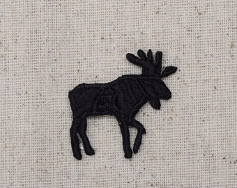 Moose Silhouette - Small - Facing Right or Left - Iron on Applique - Embroidered Patch - 696127