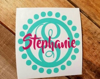 Name Circle monogram decal yeti cup decal circle monogram vinyl decals cup decals monogram decals