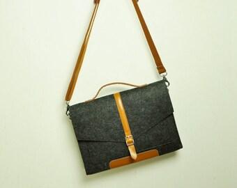 """Felt laptop bag,laptop messenger,MacBook bag,laptop bag for men,13"""" MacBook Air,felt Briefcase Macbook Bag with Handle for 15 Macbook-TFL147"""