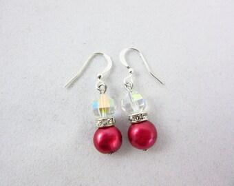 Red Freshwater Pearl Earrings Handmade Dangle Earrings Christmas Earrings