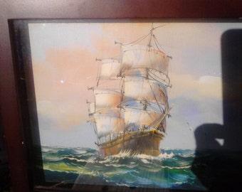 K. Dossi Original Oil-- Ship at Sea
