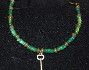Antique Bronze Key Bracelet Boho Style