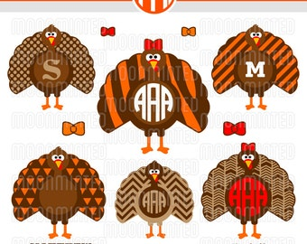 Thanksgiving Turkey SVG Cut Files - Monogram Frames for Vinyl Cutters, Screen Printing, Silhouette, Die Cut Machines, & More
