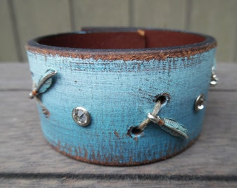 Sky Blue Ombre Indian Feathers Charms Rhinestones Painted Distressed Upcycled Brown Leather Cuff Bracelet
