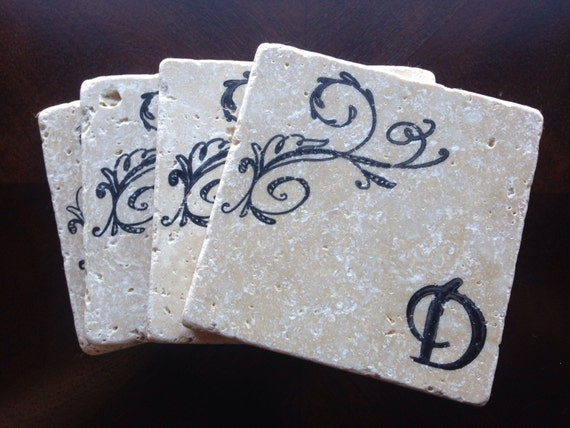 Personalized Coasters Wedding Gift: Monogram Stone Coaster Personalized Stone By