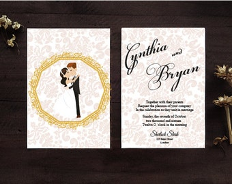 Personalized Wedding Invitation, Free Custom as you Wish, hugs and kiss invitation,