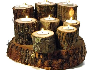 Tree Branch Candle Holders Set of 6 varying heights- Rustic Wood Candle Holders, Tree Bark, Wooden Candle Holder