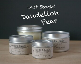 Dandelion Pear Soy Candle - 2oz, 4oz or 8oz Tins or Mason Jar 170g