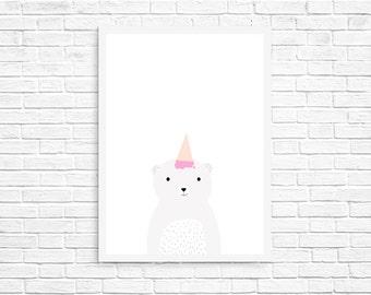Unicorn Polar Bear Print | Nursery Art | Instant Downloads