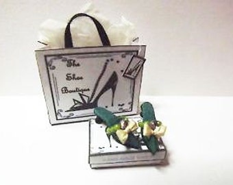 Dolls house miniature green silk shoes 1/12th scale