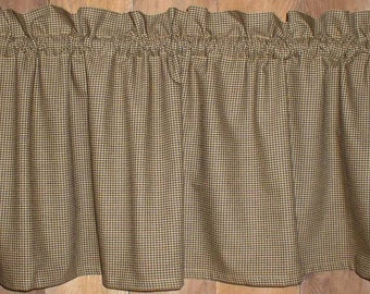 Pumpkin Spice Mini Check Homespun Valances Tiers Runners Fall Autumn Country  Curtains Cabin Decor Country Primitive