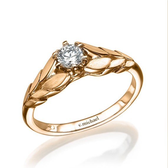 14k gold ring engagement ring solitaire ring