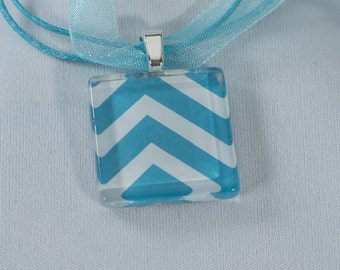 Blue Abstract, Glass Tile Pendant, with Organza chain