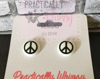 Peace sign pierced earrings