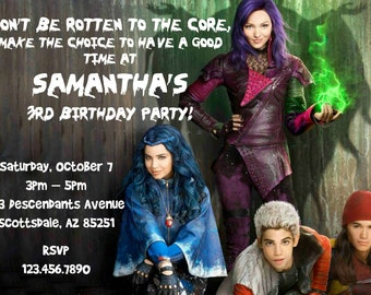 Disney Descendants Birthday Invitation - Printable Invitation - Digital Invite - Birthday Party - Personalized Customized