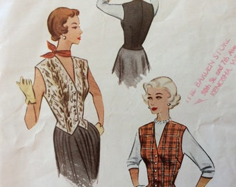 McCall 8228 misses weskit size 14 bust 32 vintage 1950's sewing pattern