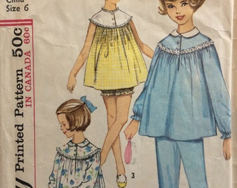Simplicity 5552 vintage 1960's girls nightgown and pajamas sewing pattern size 6 or size 8